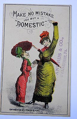 Victorian Trade Card Domestic Sewing Machine Frank Shine Andrus Williamsport PA