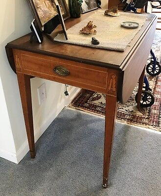 Antique Drop Leaf Occasional / Parlor / End Inlaid Single Drawer Table