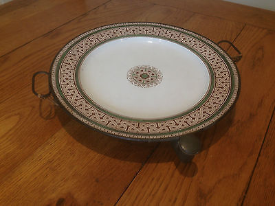 Antique F Walton Copper & Ceramic Warming Dish Arts & Crafts Vintage Plate