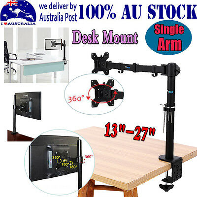 """LCD LED Single Arm Monitor Table Stand Mount for 13""""-27"""" Computer Screens TV AU"""