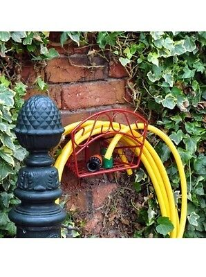 Fence /wall Mounted Deluxe Garden Hose Hanger Pipe Holder 15M 30M Metal Reel Uk