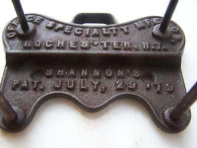 Collectible Antique Office Specialty Mfg. Co., Rochester, NY  Cast Iron Pat. 79