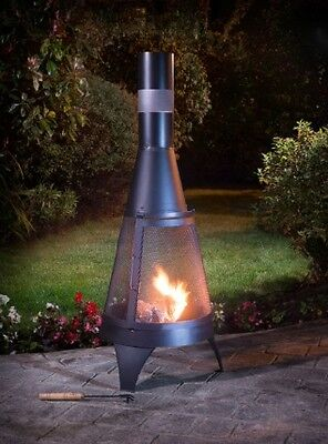 Deluxe Chiminea Chimenea 120cm Black Garden Log Burner Complete With Poker