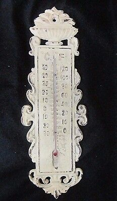 Vintage Antique Victorian Wall Thermometer Cast Iron Ornate Working C/F Scale