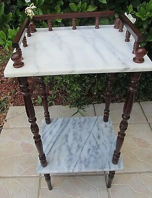 Beautiful Vintage Plant Stand With Top And Shelf In Marble