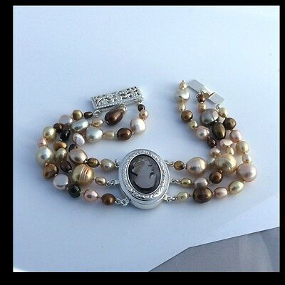OOAK Cameo Keishi freshwater pearls bracelet Sterling silver Baroque safe clasp