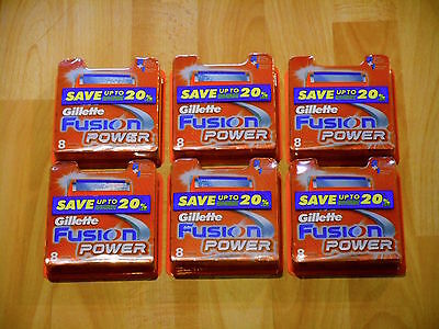 6 X Gillette Fusion Power Pack of 8 Cartridges ( 48 Shaving Blades) RRP$240