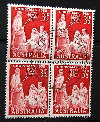 Australia 1958 Christmas 3 1/2d Stamp Block Of Four Stamps VFU