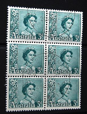 Australia 1959 3d Definitive Stamp Block Of Six Stamps VFU