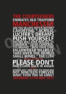 The Courteeners - Set List Poster - Old Trafford Manchester 27th May 2017