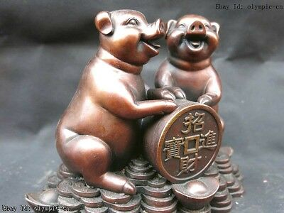 7' Chinese red copper carved beautifully lucky money two pigs Sculpture Statue