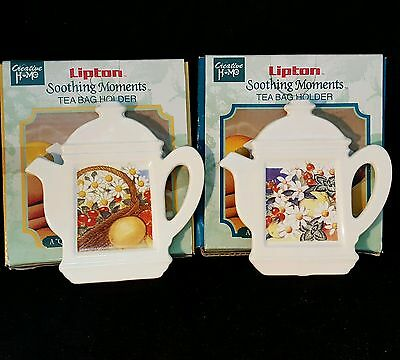Vintage Lipton Soothing Moments Tea Bag Holder Creative Home Set of 2 NIB