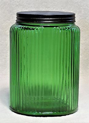 Vintage Owens Illinois Forest Green Hoosier Large Canister Jar Black Lid