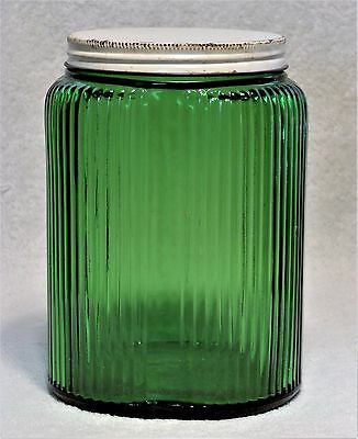 Vintage Owens Illinois Forest Green Hoosier Large Canister Jar White Lid