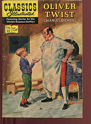 Classics Illustrated # 23 Hrn 136 Oliver Twist Charles Dickens 15 Cent Cover Vg