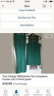 True Vintage 1960s/early 70s crimpolene trouser suit in forest green