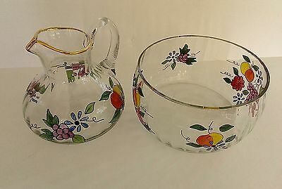Large Clear Glass Serving Bowl + Lemonade Pitcher Hand-Painted Fruit-Gold