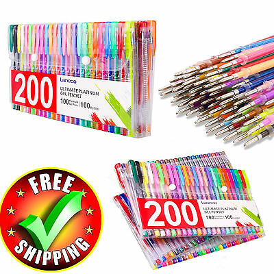 Colored Gel Pens 200 Pack Set Lot Metallic Glitter Color Quality Office Ink Pen
