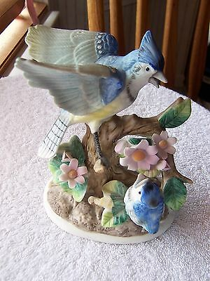 Blue Jay with Baby Bird  Ceramic Figurine