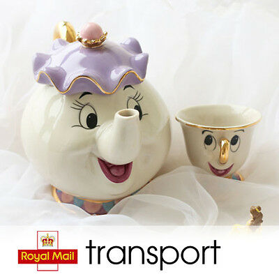 Disney Cartoon Beauty And The Beast Teapots Mugs Mrs. Potts Chip Tea Pot and Cup