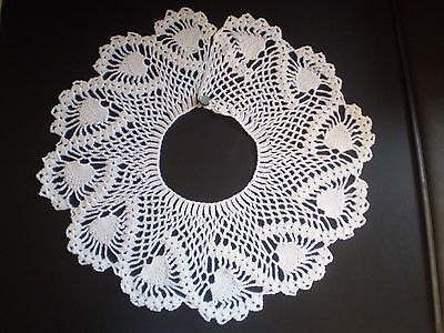 Pretty Vintage 6-inch Crochet Hand Made Lace Collar ~  White