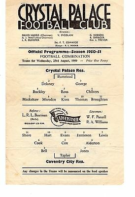Crystal Palace v Coventry City Reserves Programme 23.8.1950