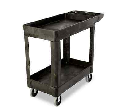 New 33in Utility Cart Shelf Rolling Heavy Duty Storage Supplies Materials 2-Tier