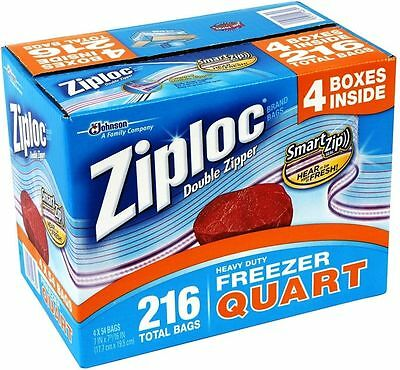 Ziploc Heavy Duty Freezer Bags - Quart Size (Double Zipper) 216 Bags (4 x 54)