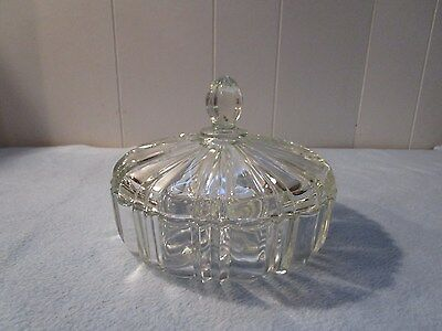 Vintage Anchor Hocking Old Cafe Round Covered Candy Dish Clear Glass with Lid