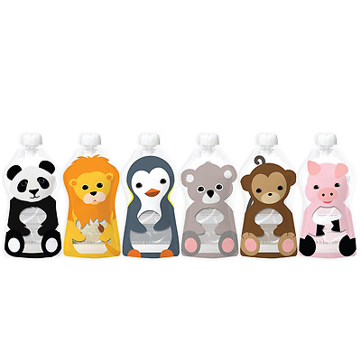 Squooshi Reusable Food Pouch Storage Holder Container Animal Design 6 Pack New