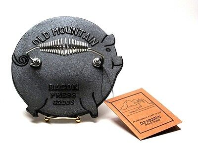 "Old Mountain Cast Iron Pig Grill Press 7.25"" Round w/ Stainless Steel Handle"