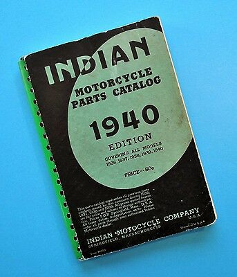 Original 1936-40 Indian Scout Chief Four Motorcycle Parts Catalog Manual Book