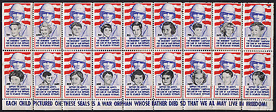 USA Sheet of Seals, Vignettes, WW2 WWII Soldiers Die leaving Orphans, MINT