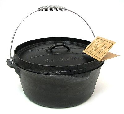 """Old Mountain 8 Quart Camp Oven Cast Iron Cookware w/ Flanged Lid 14 x 13"""""""