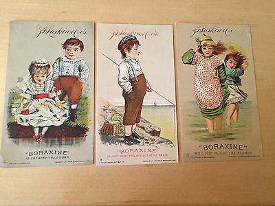 3 J. D. Larkin Soap Co-Boraxine-Victorian Trading Cards-1882