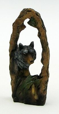 Wolf Cutaway Scene Resin Statue Sculpture Figurine Decor 3 x 7""