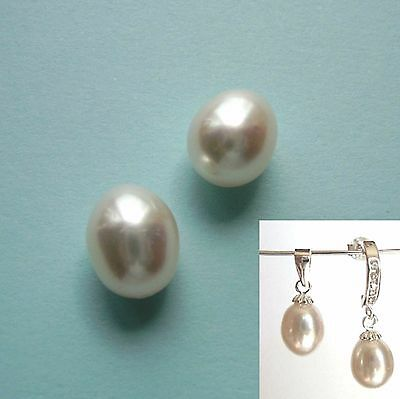 Pair of IVORY WHITE FRESHWATER AA Drop/Oval Half Drilled Pearls / Choose Size