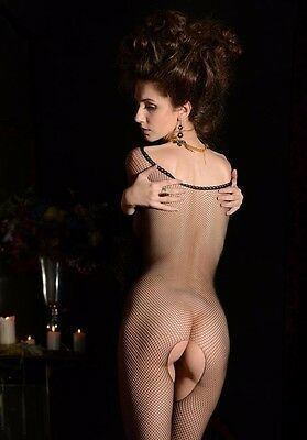5 x Hot model in fishnet bodystocking A4 photos