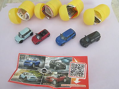 Complete Set Of 4 Surprise Egg  Toys Kinder Mini Cooper Cars Limited Edition