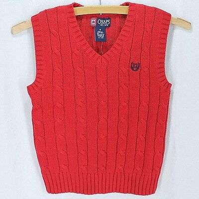 Chaps Sweater Vest Boys Sz 5 Red Cable Knit V Neck Pullover Cotton New