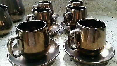 Vintage Prinknash Abbey Pottery Pewter Gunmetal Lustre Coffee set - 19 pieces