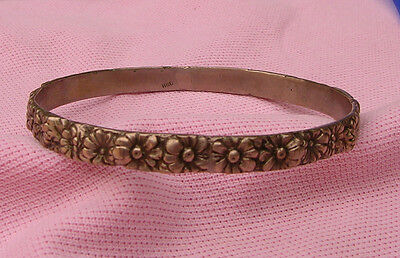 Vintage Antique 800 European Coin Silver Wide Heavy Flower Daisy Bangle Bracelet