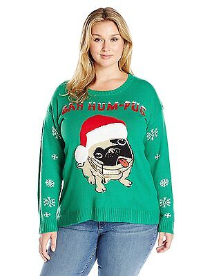 Blizzard Bay Women's Plus Size Bah Hum Pug Ugly Christmas Sweater with Fuzzy Hat