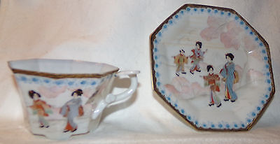 Antique Hand Made Japanese/Chinese porcelain translucent tea cup & saucer Geisha