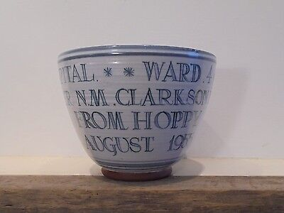 Large Rye Pottery 1955 , Raymond Everet , Royal East Sussex Hospital Bowl