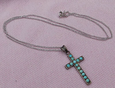Old Vintage Antique Victorian Sterling Silver Turquoise Cross Necklace New Chain