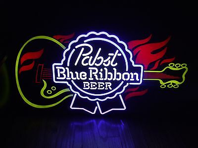 Pabst Blue Ribbon Guitar Led Sign Man Cave Lighted Fire Pbr Hob House Of Blues