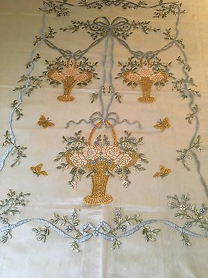 Beautiful Vintage French Embroidered Netting And Lace Bed Cover