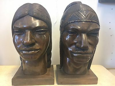 Art Deco Exotic Indian Sculpted Carved Wood Busts Signed Javier Pair