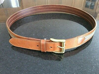 Coach Leather Belt Size 36'' Olive Brown Ribbon Gold Buckle Italian Style 3879